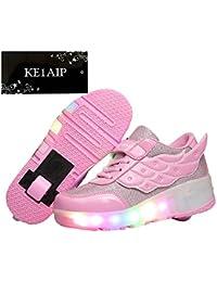KE Unisex LED de luz intermitente ruedas auto-párrafo Roller Skates Polea Zapatos deportivos