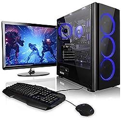 """Megaport Super Méga Pack Rampage - Unité Centrale PC Gamer Complet • Ecran LED 24"""" • Clavier et Souris Gamer • AMD Ryzen 3 3200G 4 x 3600 MHz • nvidia GeForce GTX1050 • 8Go • 1To • Windows 10"""