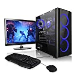 "Megaport Super Méga Pack Cyber - Unité centrale PC gamer complet AMD Ryzen 5 2600 6x3.40 GHz • Ecran LED 24"" • Clavier et souris gamer • GeForce GTX 1050Ti • 16Go • 1To • Windows 10 ordinateur de bureau PC gaming"