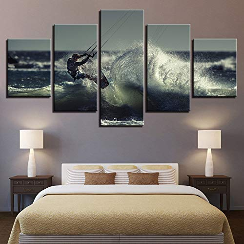 PANDABOOM Hd Gedruckt Malerei Auf Leinwand Bilder Kühlen Surfen Wandkunst Für Café Moderne Wohnkultur Galerie-Wrapped Art 5 Panel Set Gerahmt (Surfen Galerie)