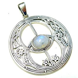 Motivanhänger Avalon, Mondstein, 925% Sterling Silber, Silberschmuck, Anhänger, Geschenk, Damen, Glücksbringer
