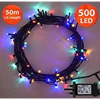 Multi Coloured Christmas Lights 500 LED 50m Fairy Lights Indoor/Outdoor String Tree Lights Festival/Bedroom/Party Decorations Memory Timer Mains Powered 164ft Lit Length 10m/32ft Lead Green Cable