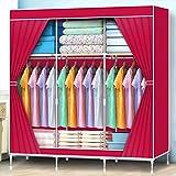 LI JING SHOP - Couleurs solides Section de rideaux Armoire en tissu Armoire en métal Ensemble Armoire Pole Stockage haute capacité W120 × D45 × H160cm ( Couleur : Rouge )