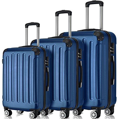 Flieks® ReiseKoffer Hartschale Trolley Koffer Gepäck-Sets mit 4 Doppel-Rollen, Set-XL-L-M (Dunkelblau, Koffer-Set)