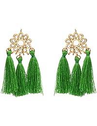 Sanjog Green Fusion Kundan Stone Tassel Earring For Women Girls
