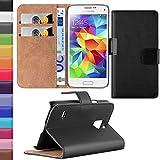 HANDYPELLE Tasche kompatibel mit Samsung Galaxy S5 Mini im Bookstyle in Schwarz - Handytasche Case Wallet Hülle Handyhülle Schutzhülle