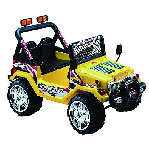 Potente Coche eléctrico niños todo terreno 12v con mando barato estilo jeep - Amarillo