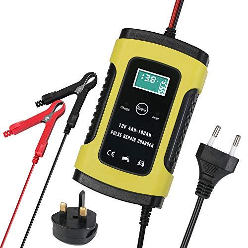 Chargeur de Batterie, URAQT Mainteneur 6A 12V Intelligent, Affichage LCD, Prise Standard Européenne avec Protections Multiples pour Batterie de Voiture, Moto, Tondeuse à Gazon ou Bateau