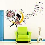 Wandtattoo Wandaufkleber Wandsticker Mädchen Fee mit Schmetterlingen und Blumen Kinderzimmer Deko (Good Night)