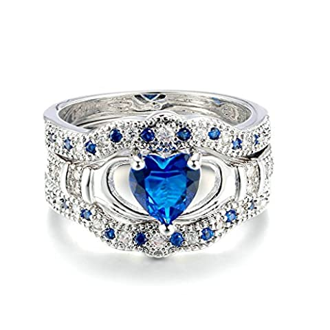 AnaZoz Bague Claddagh Irlandaise Saphir 3 Anneaux Brodé Bleu Bœur Bijoux Mariage Fantaisie Bague de Fiançailles Taille 51.5