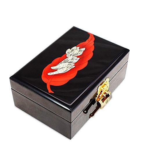 YM& Asiatisch Handarbeit Lack Aus Holz Perle Schmucketui Schmuckstück Andenken Geschenkbox-Organisator 21 * 14 * 8 Cm J2103 (Lack-aufbewahrungsbox)