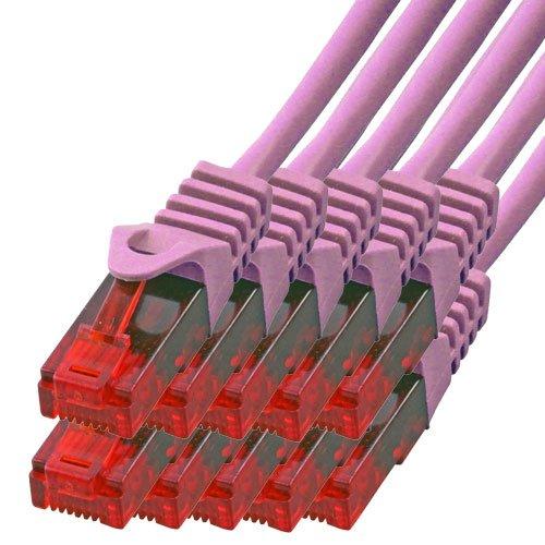 BIGtec - 10 Stück - 3m Gigabit Netzwerkkabel Patchkabel Ethernet LAN DSL Patch Kabel pink (2X RJ-45 Anschluß, CAT.5e, kompatibel zu CAT.6 CAT.6a CAT.7) 3 Meter -