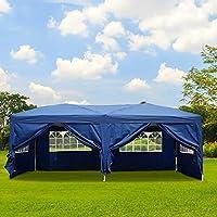 Qulista Carpa Pabellón Plegable 3x3 / 3x6 / 2.5x2.5 / 3x3M Tienda de campaña Impermeable Cenador Gazebo con Ventanas para Fiestas Tiendas Eventos Boda o Picnic (Pabellón: 3 x 6 x 3.3 M, Azul)