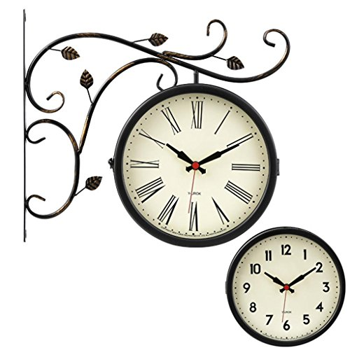 Wall Sided Clock Double (Europäischen Stil Retro Doppelseitige Uhr Wohnzimmer Wanduhr Stumm Dekorative Hängende Tabelle , 007 , 16 inch)