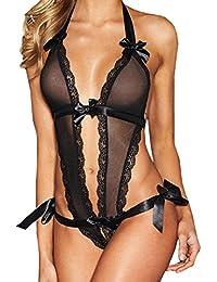 Amlaiworld Donne lingerie pizzo schienale tuta BODY pigiama intimo con bowknot (M, nero)