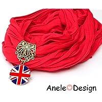 Écharpe bijou rouge drapeau anglais