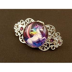 Kleine Haarspange mit Einhorn in silber lila Zopfhalter