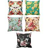 YaYa cafe Printed Colorful Floral Flower Throw Cushions Pillow Covers 16x16 inches for Home Decor Sofa Chair Bedroom Living Room - Set of 5
