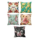 TYYC New Year Gifts for Home Colorful Floral Pattern Printed Cushion Covers Set of 5 - 20x20 inches