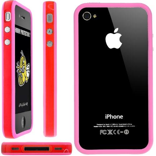 Horny Protectors Bumper für Apple iPhone 4 rosa/weiß mit Metallbutton rot/pink