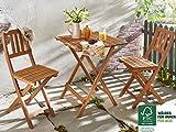 SAM® Gartengruppe Bermuda, 3tlg., Balkongruppe aus Akazienholz, 1 x Tisch + 2 x Stuhl, geölt, Garten-Tischgruppe, Sitzgruppe aus Akazien-Holz