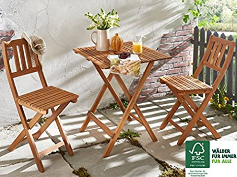 SAM® Gartengruppe Bermuda, 3tlg., Balkongruppe aus Akazienholz, 1 x Tisch + 2 x Stuhl, geölt, Garten-Tischgruppe, Sitzgruppe aus