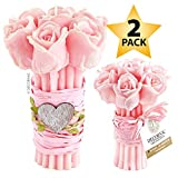 DECORNAC [ 2 stück Set ] Rose Geschenk für Frauen Mutter Tochter 8jahre Mädchen [ 2 x Duftkerze ] Rosenstrauß Aroma Rosen ätherische öle Bio (Rose)