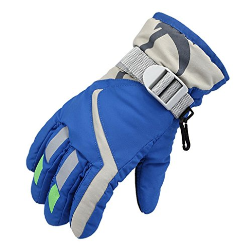 Guantes de Esquí Para Niños, Gusspower Kids Skiing Snow Snowboard y Guantes de Esquí - Impermeables y a Prueba de Viento - Outdoor Winter Sports Thermal Warmth, Azul