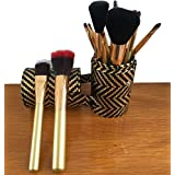 Tribecca 12pcs Makeup Brush Set, 12 Professional Makeup Brushes Kit With Golden Brush Holder
