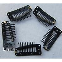 Meisi capelli 20pcs Extension Clip 10-teeth snap-comb parrucca clip (Nero)