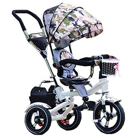 QWM-Baby bicyclettes enfants Enfant Intérieur Extérieur Petit Tricycle Vélo Boy's Bike Girl's Bike Pour 6 Mois, -5 Ans Bébé Chariot À Trois Roues Avec Awning, Amortisseur / Siège Pivotant / Tournant Cadeau pour enfants ( Couleur : #2 )