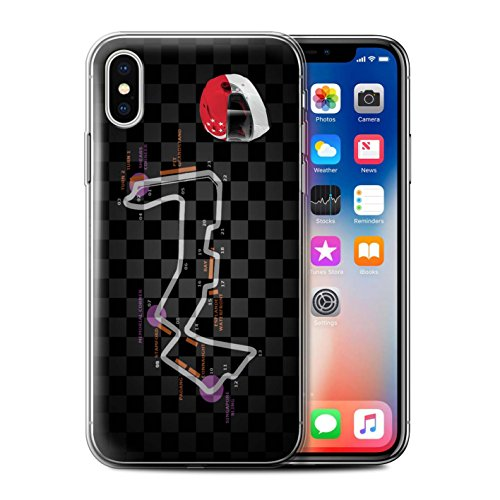 Stuff4 Gel TPU Hülle / Case für Apple iPhone X/10 / UK/Silverstone Muster / 2014 F1 Piste Kollektion Singapur