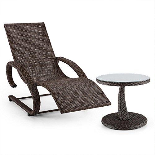 blumfeldt Daybreak Chaise Longue à Bascule & Table Aspect vannerie (2 accoudoirs, Max. 100 kg, rotin synthétique, résistant à l'eau et aux intempéries) - Marron