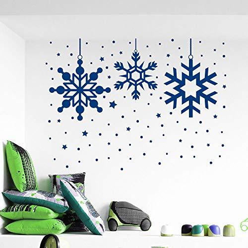 Gefrorener Schnee Schneeflocke Weihnachten Wandtattoos Frohe Weihnachten Home Window Art Decor Vinyl Abnehmbare Wandaufkleber 102x72 cm -