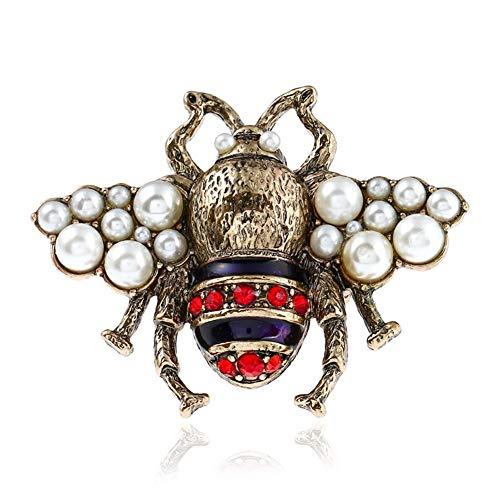 AILUOR Unisex Mode Emaille Hummel Bee Ringe, Weinlese-Perlen Kristall Strass Natur Insekt Biene Tier-Knöchel-Ring-Mittelfinger-Ring-Schmuck Mehrfarbig Einstellbar (Antike Perle Ring)