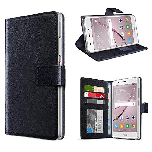eFabrik Schutztasche für Huawei Nova Hülle Smartphone Case Tasche mit Aufsteller und Innenfächer Handy-Zubehör, Farbe:Schwarz