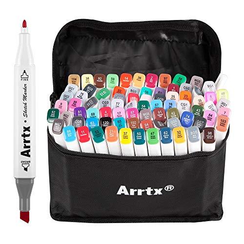 Art Kostüm Comics Pop - Arrtx 80 Farben Marker Stift, verdoppelt spitzt Graffiti Pens, Marker Pen set mit für Studenten Manga Kunstler Design Schule Drawing Sketch Pen Art Supplies mit Aufbewahrungstasche