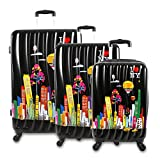 J World New York Ilny Cityscape Ii 3 Piece Luggage Set, Black