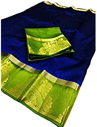Indira Designer Women's Art Raw Silk With Jecqured Border With Blouse Saree