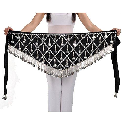 Bauchtanz Frauen Hip Schal Schals Wrap Dreieck Samt Silber Münze Dangling Quaste Taille Kette Rock Gürtel . Black . One Size (Lyrical Dance Kostüme Rosa)