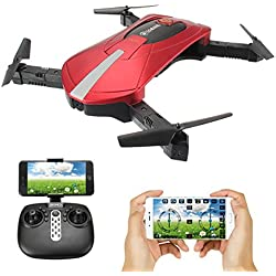 Cuadricopteros, EACHINE E52 Helicopteros Quadcopter Cuadricopteros Drone REYES MAGOS mini Drone 2.4G Hz 6-Ejes Giro 4 Canales Flips 3D Wifi HD Cámara FPV, modo sin cabeza(rojo)