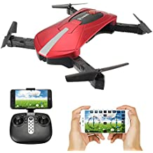 EACHINE E52 Drone mini Drone fqv RC helicopter RC helicopter 2,4G Hz 6-Ejes Giro 4 Canales Flips 3D Wifi HD Cámara FPV, Modeless(rojo)
