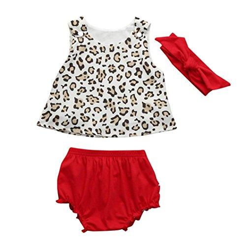 3 PCS Kleidung Set Kleinkind Kinder, DoraMe Baby Mädchen Leopard Ärmellose Weste Tops + Shorts + Bowknot Stirnband 2018 Neue Mode Outfits für 3-24 Monate (Rot, 6 Monate) (Monate Outfit Neues)