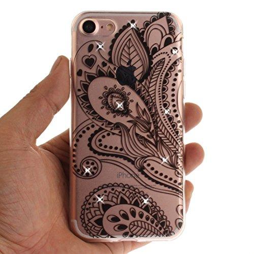 iPhone 7 Plus 5,5Zoll Hülle,iPhone 7 Plus Silikon Schutzhülle,TOYYM Ultra Dünn Transparent Weich Flexibel TPU Bumper Gel Glizter Diamant Silikonhülle Backcover,Retro Muster Design Clear Crystal Durchs Pfau Blume