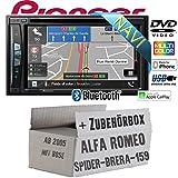 Alfa Romeo 159 Spider Brera Navi Bose - Autoradio Radio Pioneer AVIC-Z610BT - Navigation   Bluetooth   DVD   Apple CarPlay Einbauzubehör - Einbauset