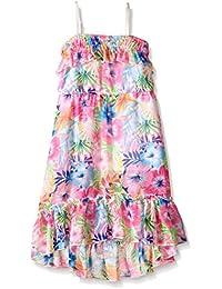 Kensie Girls' Hibiscus Print Chiffon Maxi Dress