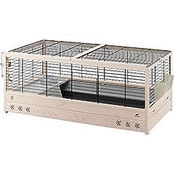 Ferplast Aréna 120 Cage en Bois Clapier avec Accessoires Inclus, pour Lapins, Maisonnette pour Petits Animaux, 125 x 64,5 x 51 cm Noir