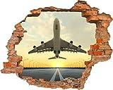 Fototapete 3D Bild Tapete Loch in der Wand Jet Flugzeug Abfahrt am Flughafen Sonne