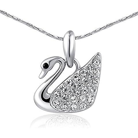 Bling Jewelry da donna platino/Placcato oro 18K cristalli pavimentazione Elegante Cigno Ciondolo Collane