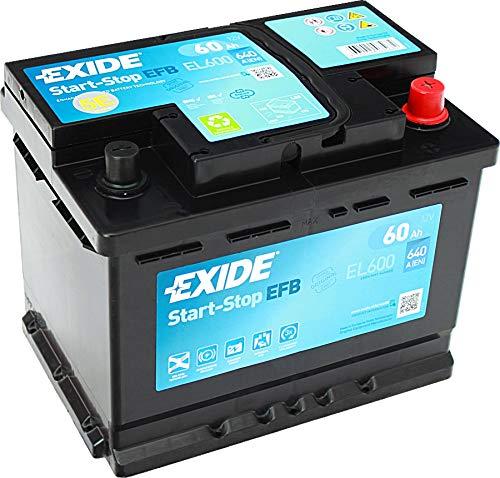 BATTERIA AVVIAMENTO EXIDE EL600 EFB 242x175x190 EFB 60Ah 640EN START AND STOP - GARANZIA 2 ANNI